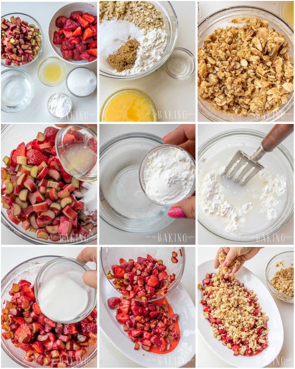 Visual step by step directions for making an easy strawberry rhubarb crisp recipe.