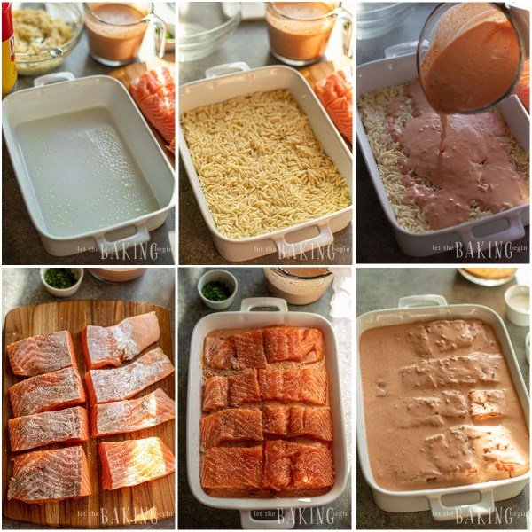 Visual step by step directions for making roasted salmon pasta casserole.