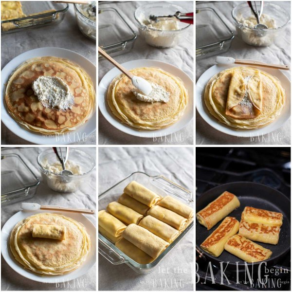 Visual instructions for filling and folding a cheese blintz