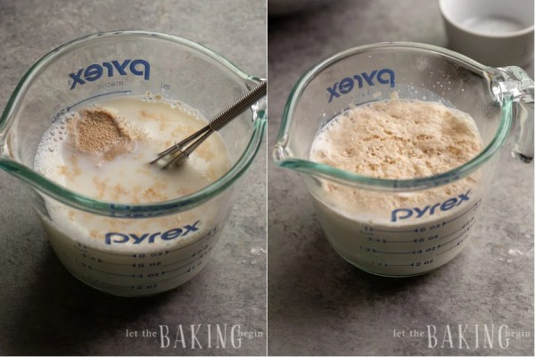 Step by step pictures of yeast and milk mixture before and after rising.