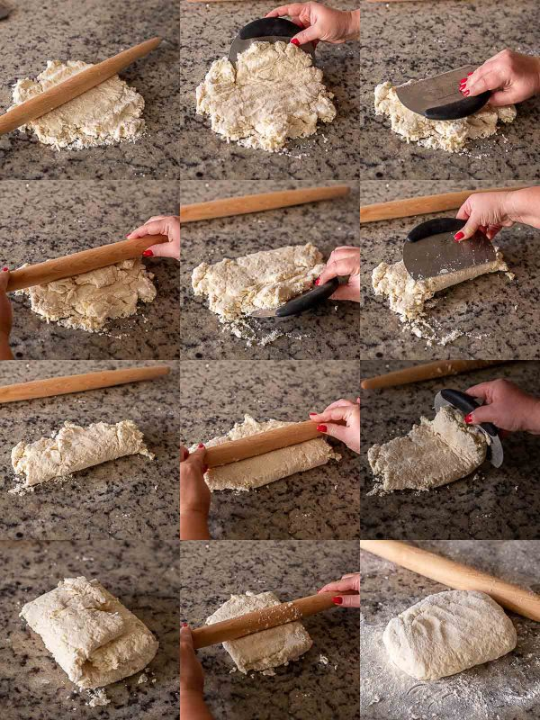 Step by step process of the biscuit dough being folded, envelope style.