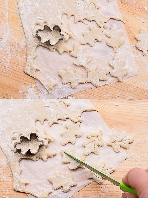 How to cut out leaves with the puff pastry dough.