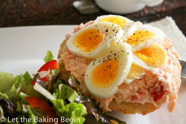 Toasted Sesame Bun with Salmon and Egg  by Let the Baking Begin!