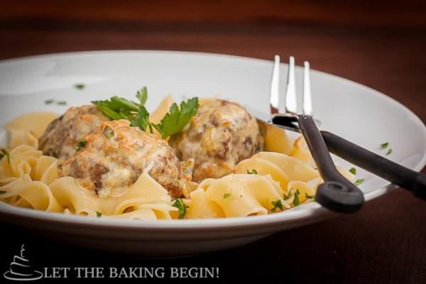 Goat Cheese Stuffed Meatballs in Creamy Jalapeno Sauce  | LetTheBakignBeginBlog.com | @Letthebakingbgn