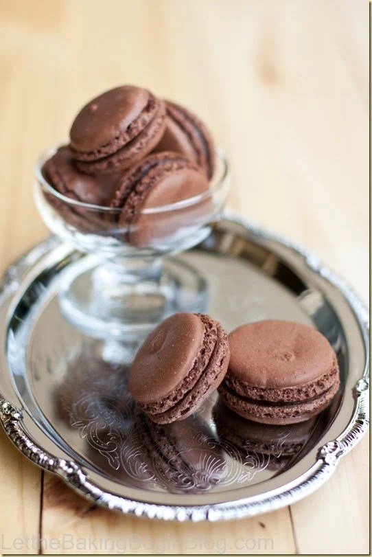 Fragile, yet soft; fudgy and full of intoxicating chocolate Dark Chocolate Truffle Macarons are amazing! by LetTheBakingBeginBlog.com