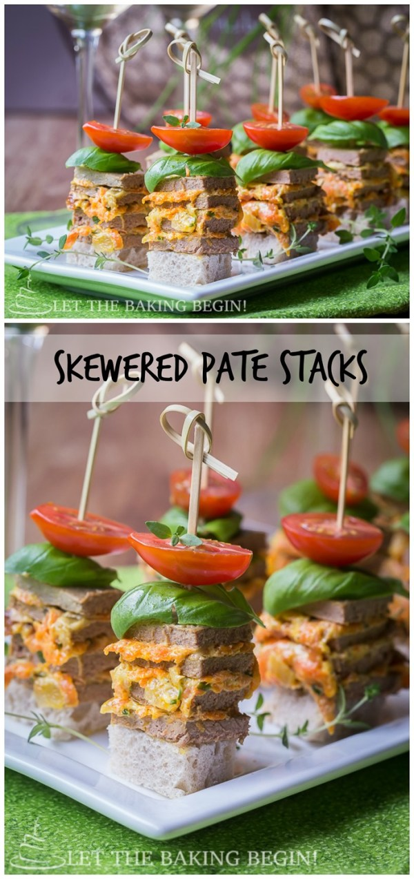 Skewered Pate Stacks - Great appetizer for any get together.  Delicious, quick and creative way to kick up your appetizer selection. By LetTheBakingBeginBlog.com