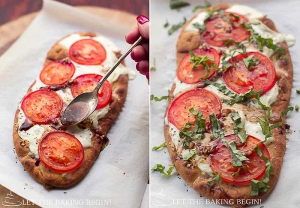 15 Minute Margherita Flatbread Pizza - delicious, easy recipe for a homemade pizza that's great for busy weeknights or parties. By LetTheBakingBeginBlog.com | @Letthebakingbgn