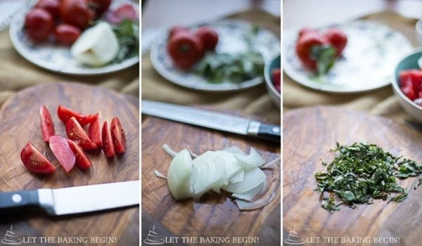 Creamy Tomato Basil and Sweet Onion Salad – best combination ever! by LetTheBakingBeginBlog.com   @Letthebakingbgn