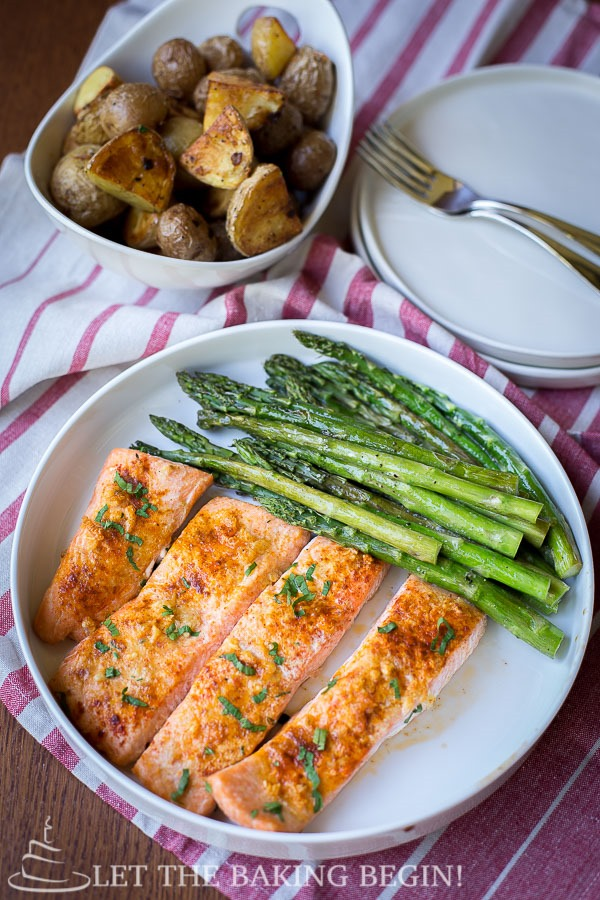 Potato Salmon Asparagus One Pan Dinner – Clean, Easy and Delicious way to make dinner all in one pan with no previous prep. LetTheBakingBeginBlog.com - @Letthebakingbgn