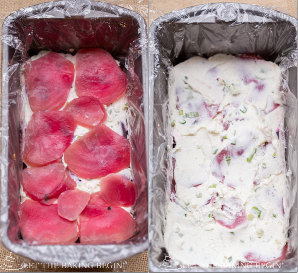 Beet and Herbed Goat Cheese Terrine - Goat cheese mixed with herbs and spices, then spread between layers of multicolored beets. | By Let the Baking Begin!
