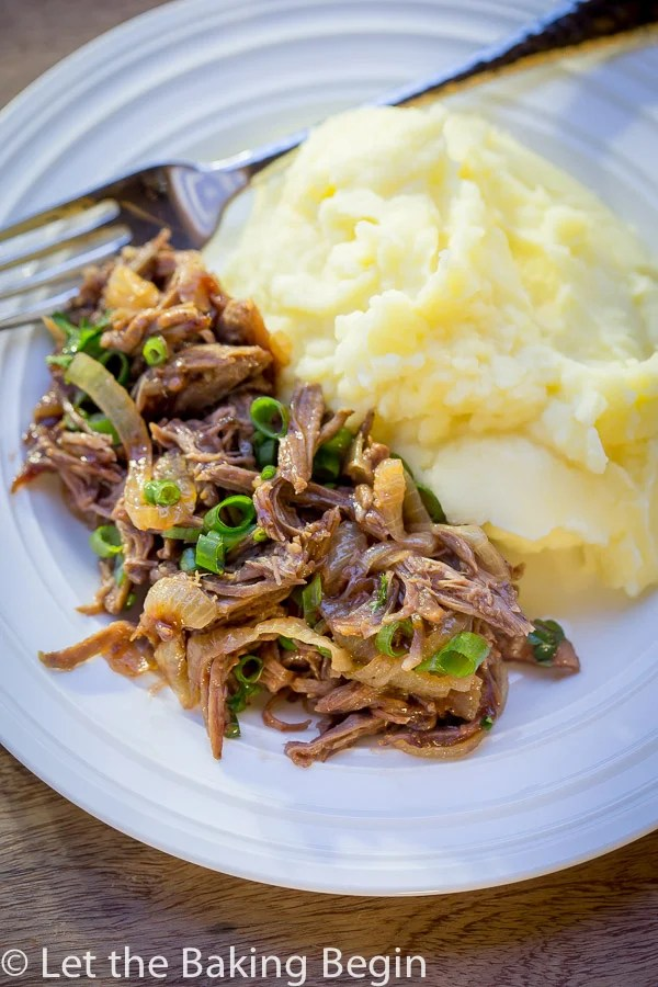 Garlic BBQ Pot Roast - Soft, tender beef with caramelized onions, garlic and BBQ sauce. Perfect make-ahead dinner.
