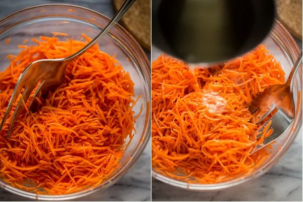 Spicy Korean Carrots - A must-have recipe for grilling season. A mix of garlic, coriander, hot oil and other spices transform the carrots into something unbelievable! | Let the Baking Begin!