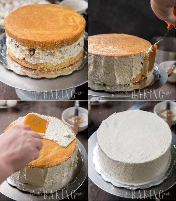 Kiev Cake - Yellow Sponge Cake combined with Hazelnut Meringue, Russian Buttercream and Tart Cherries. A very loose but incredibly delicious interpretation of a classic Ukrainian Cake | By Let the Baking Begin!