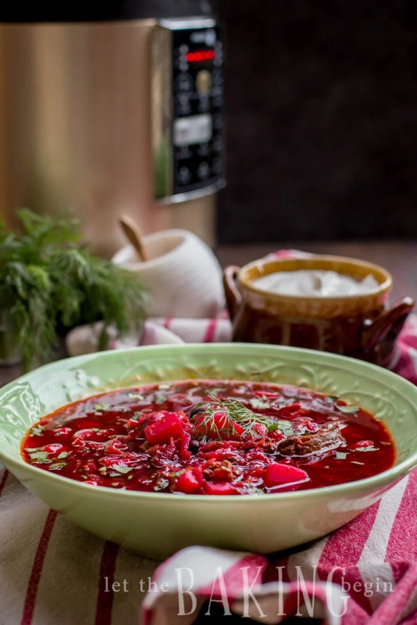 Borsch - Beef and Beet Soup is a traditional Ukrainian soup that is hearty, healthy and delicious!   By Let the Baking Begin!
