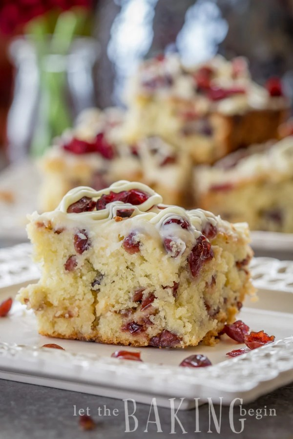 Cranberry Bliss Coffee Cake {Moist Coffee Cake with White Chocolate, Cranberries and Cream Cheese Glaze is an amazing treat that is perfect dessert or breakfast!}