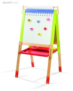 janod height adjustable wooden easel