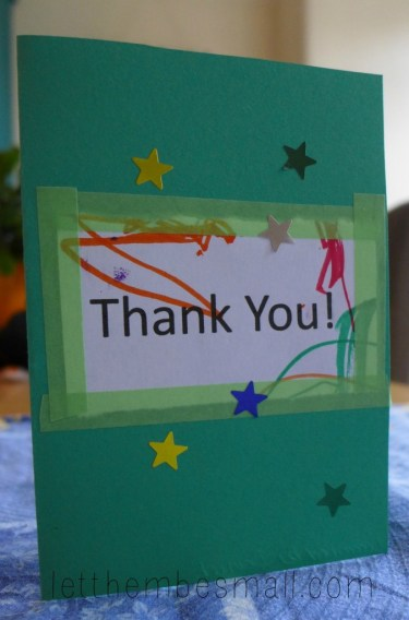 easy toddler thank you card