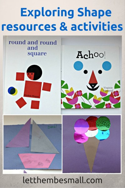 some lovely resources and ideas for shape work with toddler and preschoolers - good for developing language and fine motor skills as children create images from shapes