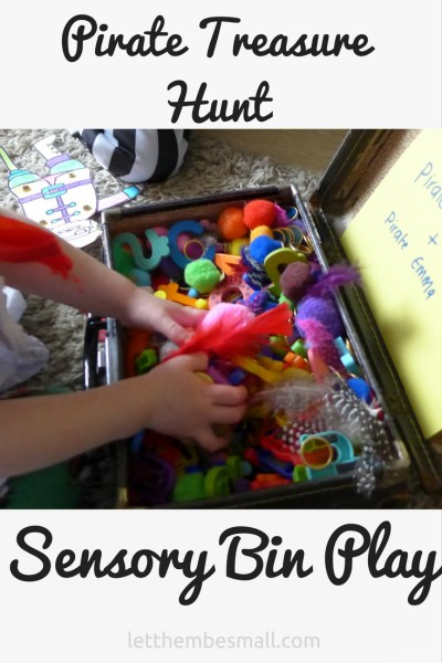 idea for a pirate sensory bin - lots of ideas to suit different ages