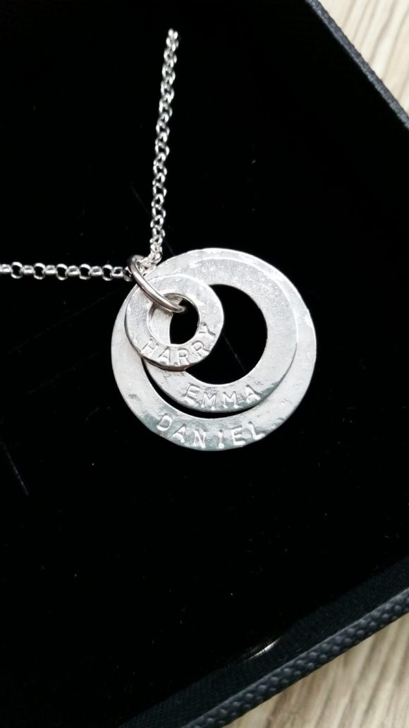 personalised necklace - three hoops with names engraved