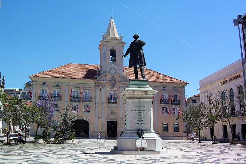 Aveiro in Portual. Image of a monument in town square