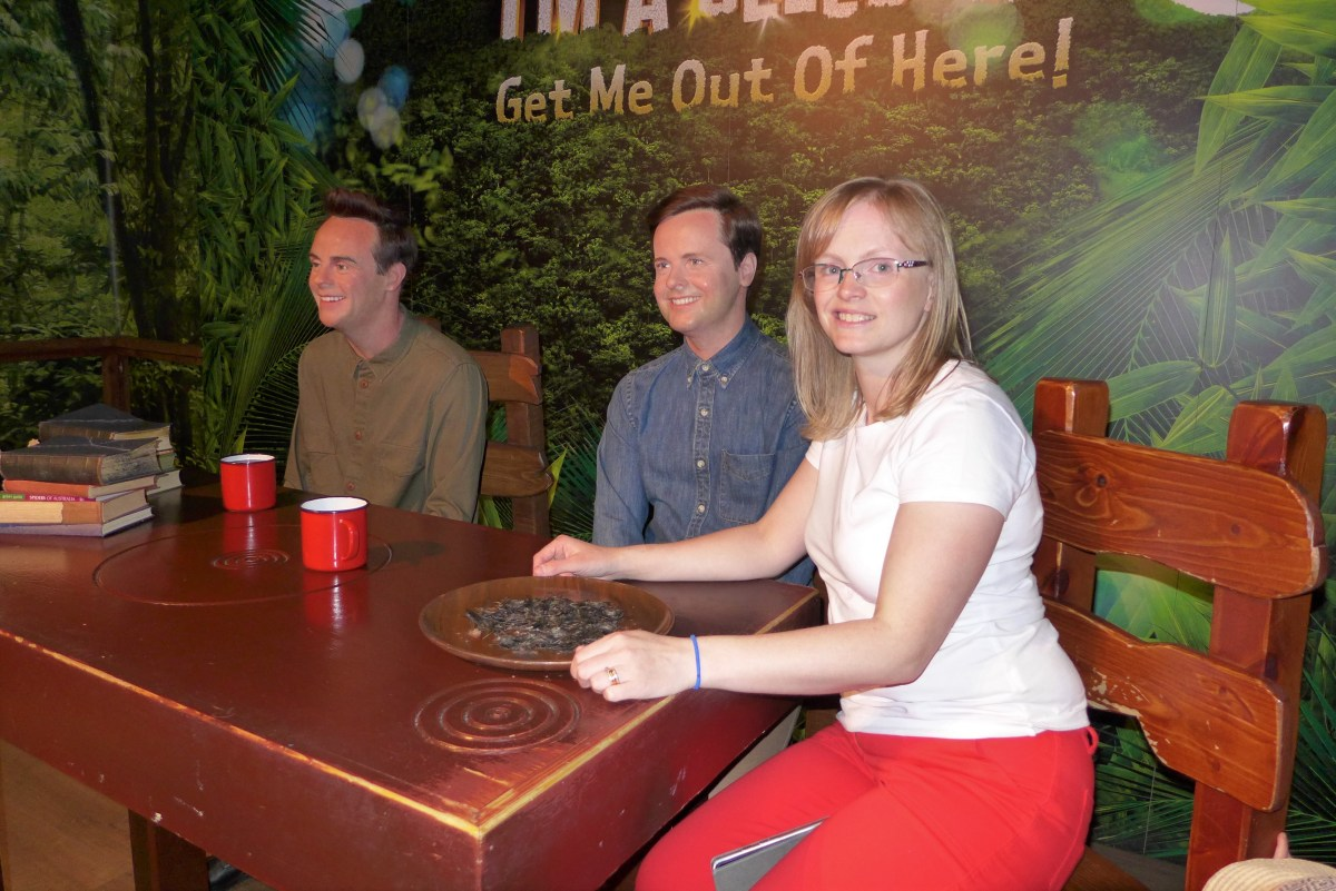 Woman with wax figures of Ant and Dec at Madame Tussauds Blackpool