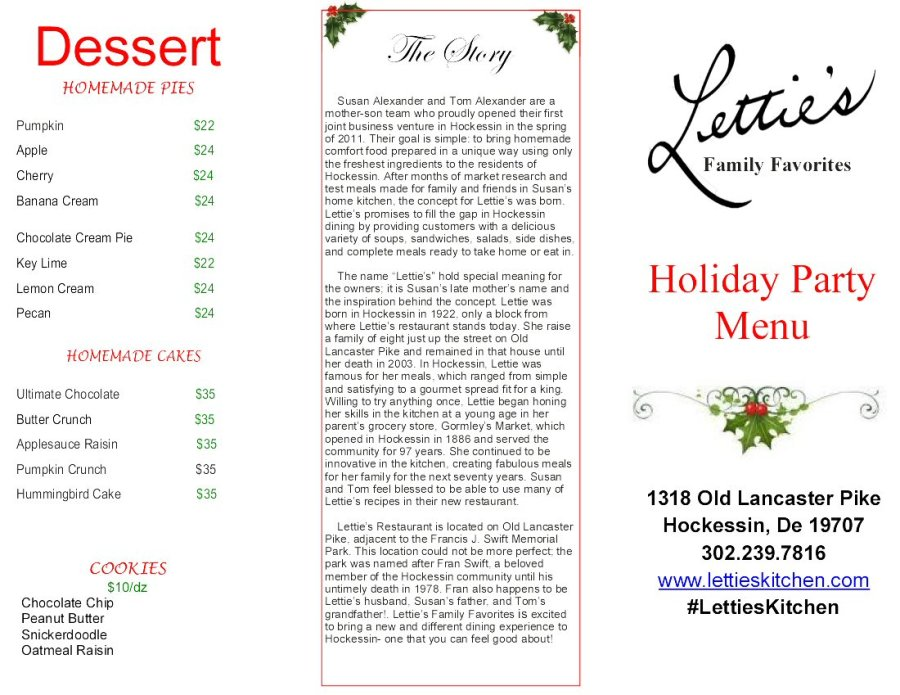 Letties Kitchen Holiday Catering Menu 2017