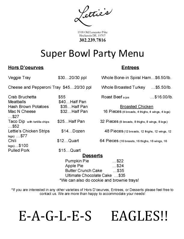 super bowl party menu 2018