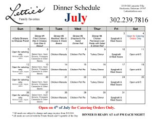 July Menu for Lettie's Kitchen PLUS Daily Dinners