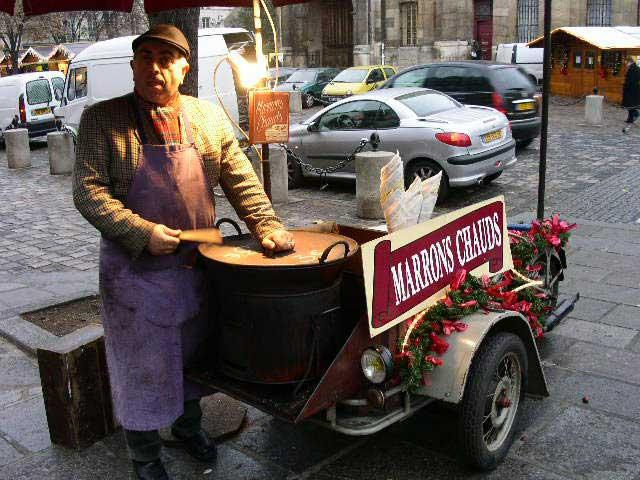 "The ""Marrons Chauds"" vendor..."