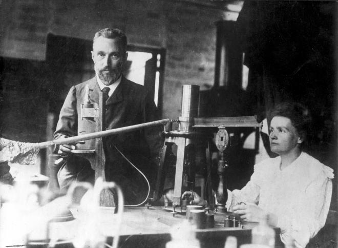 Pierre and Marie Curie in their Lab...