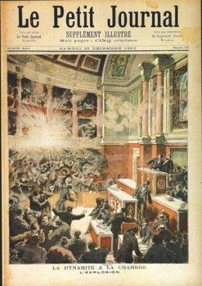Le 9 décembre 1893, l'anarchiste Auguste Vaillant, projette une bombe dans l'hémicycle de l'Assemblée nationale au Palais Bourbon. L'engin, chargé de clous et de plomb, explose par-dessus la tête des députés et au nez des spectateurs assistant aux délibérations. Une cinquantaine de personnes sont blessés, dont Auguste Vaillant lui-même.Par son geste Auguste Vaillant voulait venger la mort de l'anarchiste Ravachol, exécuté après avoir commis des attentats à la bombe contre des magistrats. Il entendait aussi dénoncer la répression du gouvernement de Casimir-Perier contre les activistes anarchistes. Vaillant est guillotiné le 5 février 1894.