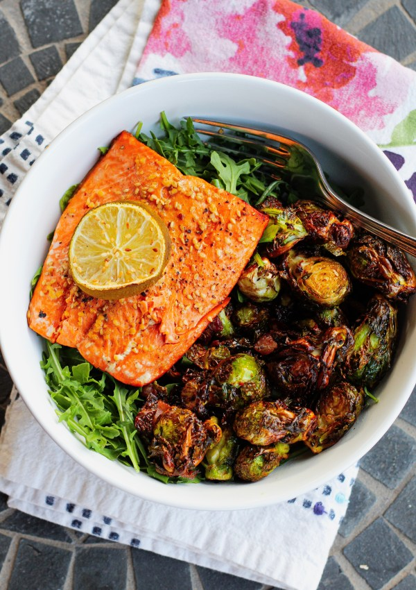 Air Fryer Bacon Brussels Spouts & Sesame Lime Salmon