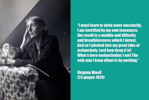 Citazione sulla scrittura e sul carattere melanconico dell'autrice tratta dai diari di Virginia Woolf