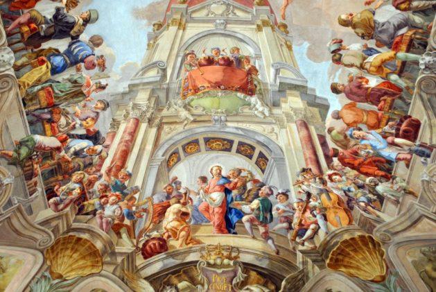 Praga, biblioteca del Monastero di Strahov: particolare del soffitto dipinto del refettorio d'estate