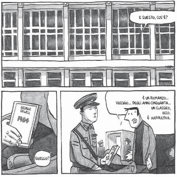 "L'arrivo in aeroporto . ""Pyongyang"", Guy Delisle"