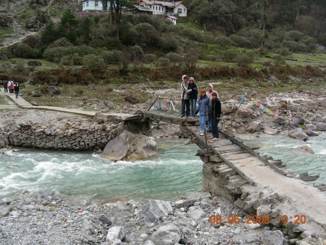 The bridge to reach the hot water spring at Yumthang, Sikkim.