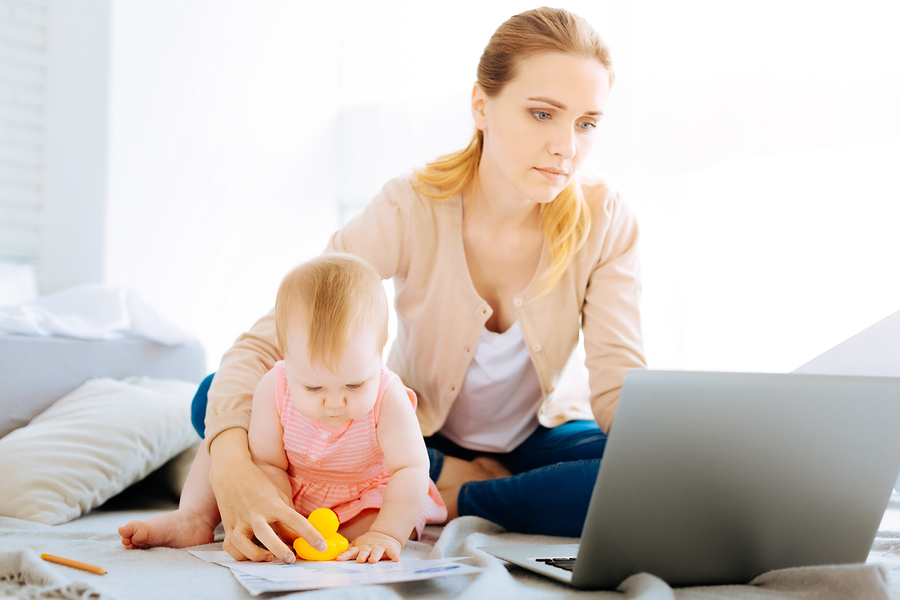 Women with baby asking are you productive?