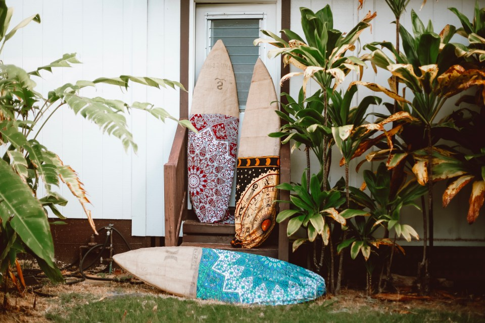 surfboard bags made from burlap sacs and recycled fabric | old coffee bean bags