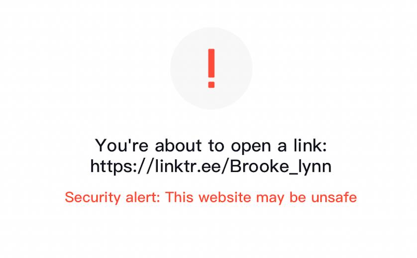link tree showing security alert on tiktok | tiktok saying link is unsafe