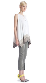 ronen-chen-11121-Claire-Tank-Draped-Color-Block-khaki-front