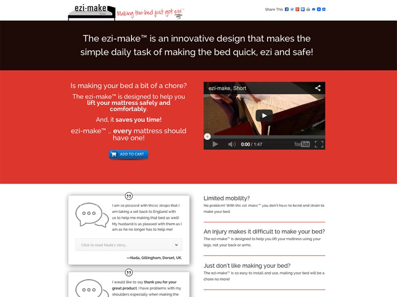 A one-page landing site for Ezi-Make™