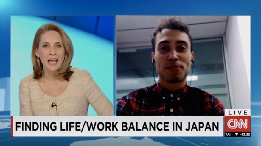 Stu being interviewed by CNN about work culture in Tokyo.