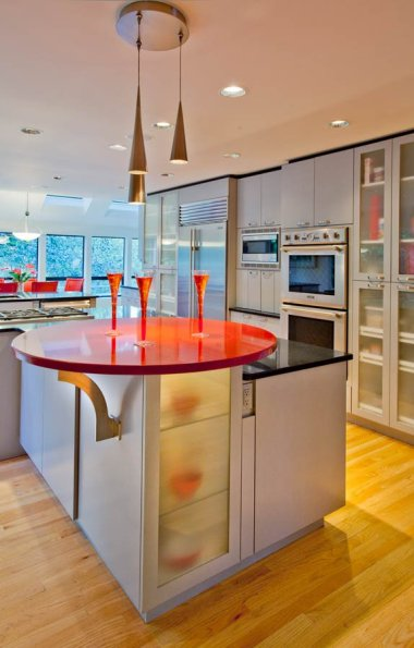 Ubo-Contemporary with red countertop for contrast :)