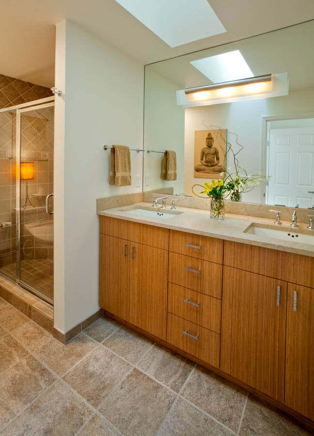 Contemporary-Asian-Flair bathroom remodel in Portland