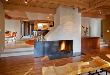 Retro fireplace installed in a living room