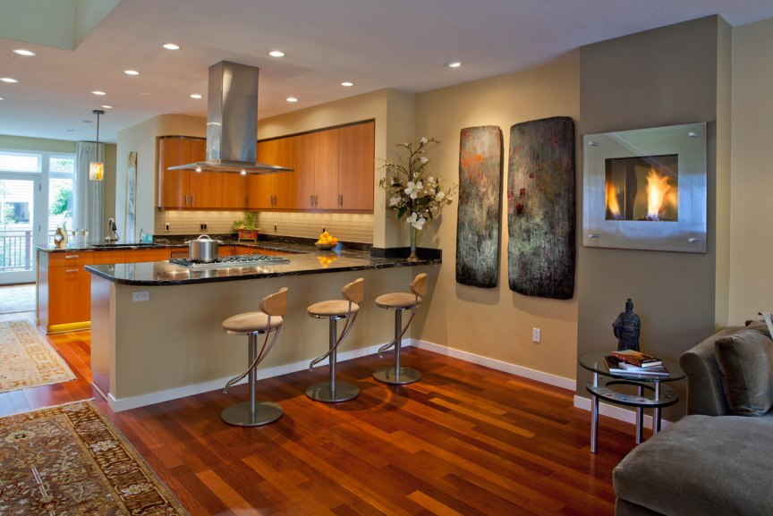 Asian-Flair kitchen from living room