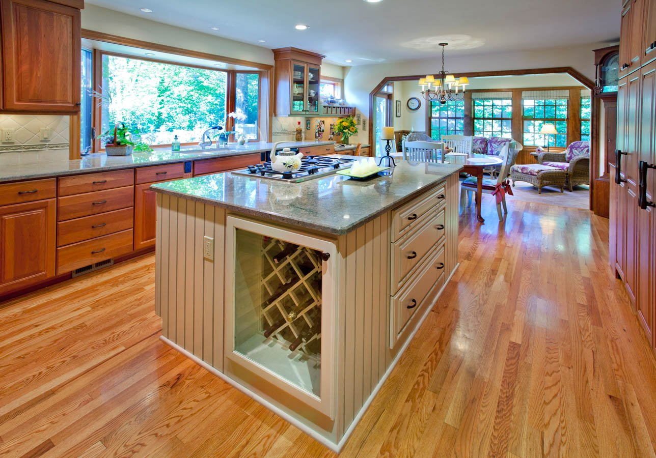 Traditional kitchen island with wine storage below