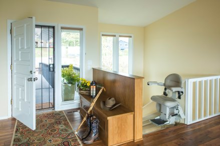 Aging in place front entry remodel with stairlift