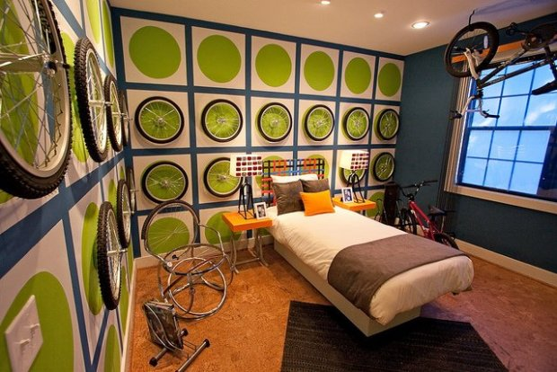 Ultra-custom bicycle themed room